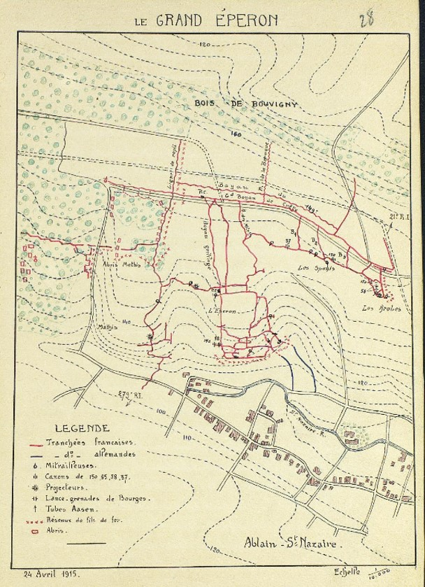 Carte du Grand Eperon extraite du JMO du 109e RI, 24 avril 1915, page 31
