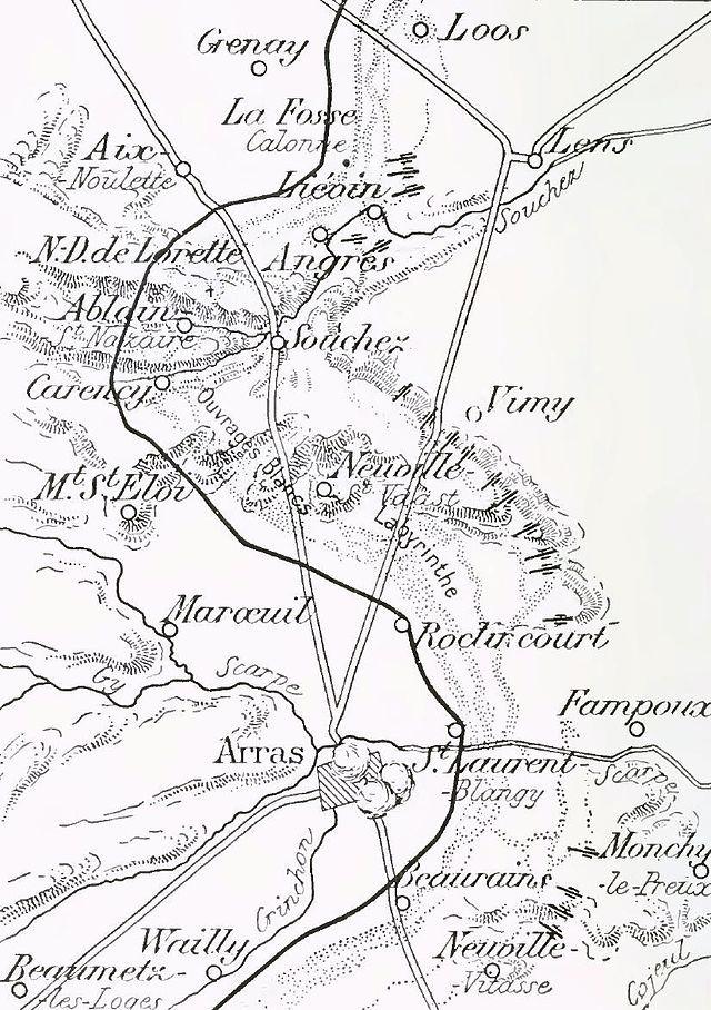 Carte de l'Artois en mai 1915
