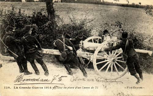 Mise en place d'un canon de 75 (site rosalielebel75)