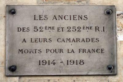 Plaque commémorative 52e et 252e R.I., Galerie d'honneur - Hôtel national des Invalides