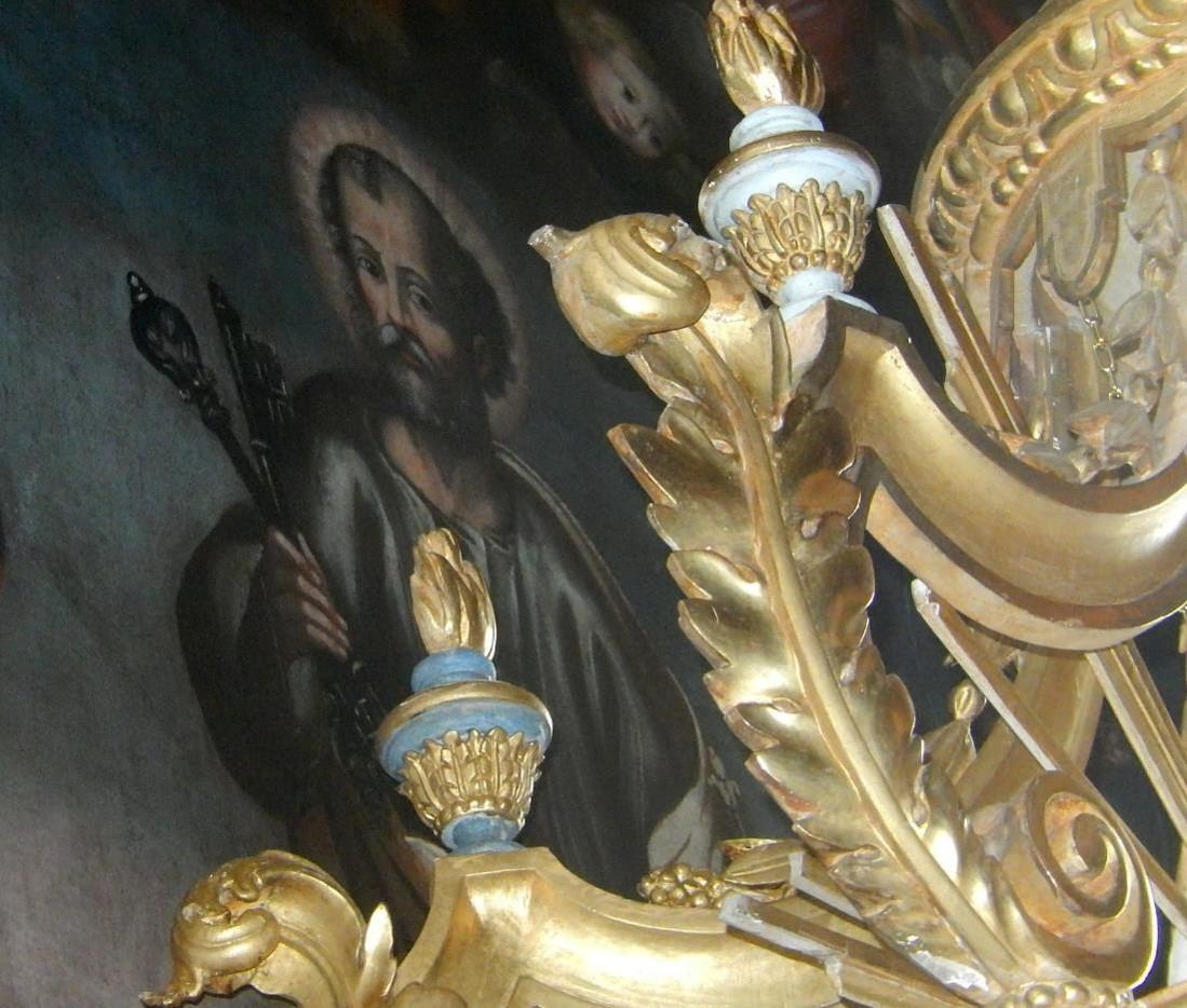 Toile du retable de l'église St-Pierre-St-Paul, Passy : saint Pierre, personnage central (cliché Bernard Théry, mars 2016)
