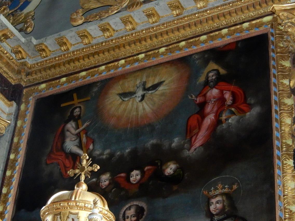 Toile du retable de l'église St-Pierre-St-Paul, Passy : la Sainte Trinité, partie supérieure (cliché Bernard Théry, mars 2016)