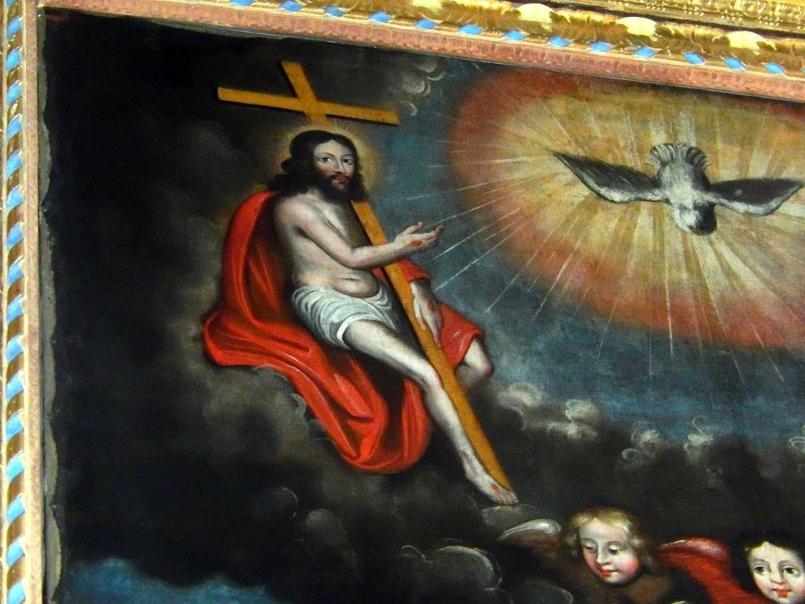 Toile du retable de l'église St-Pierre-St-Paul, Passy : le Christ (cliché Bernard Théry, mars 2016)