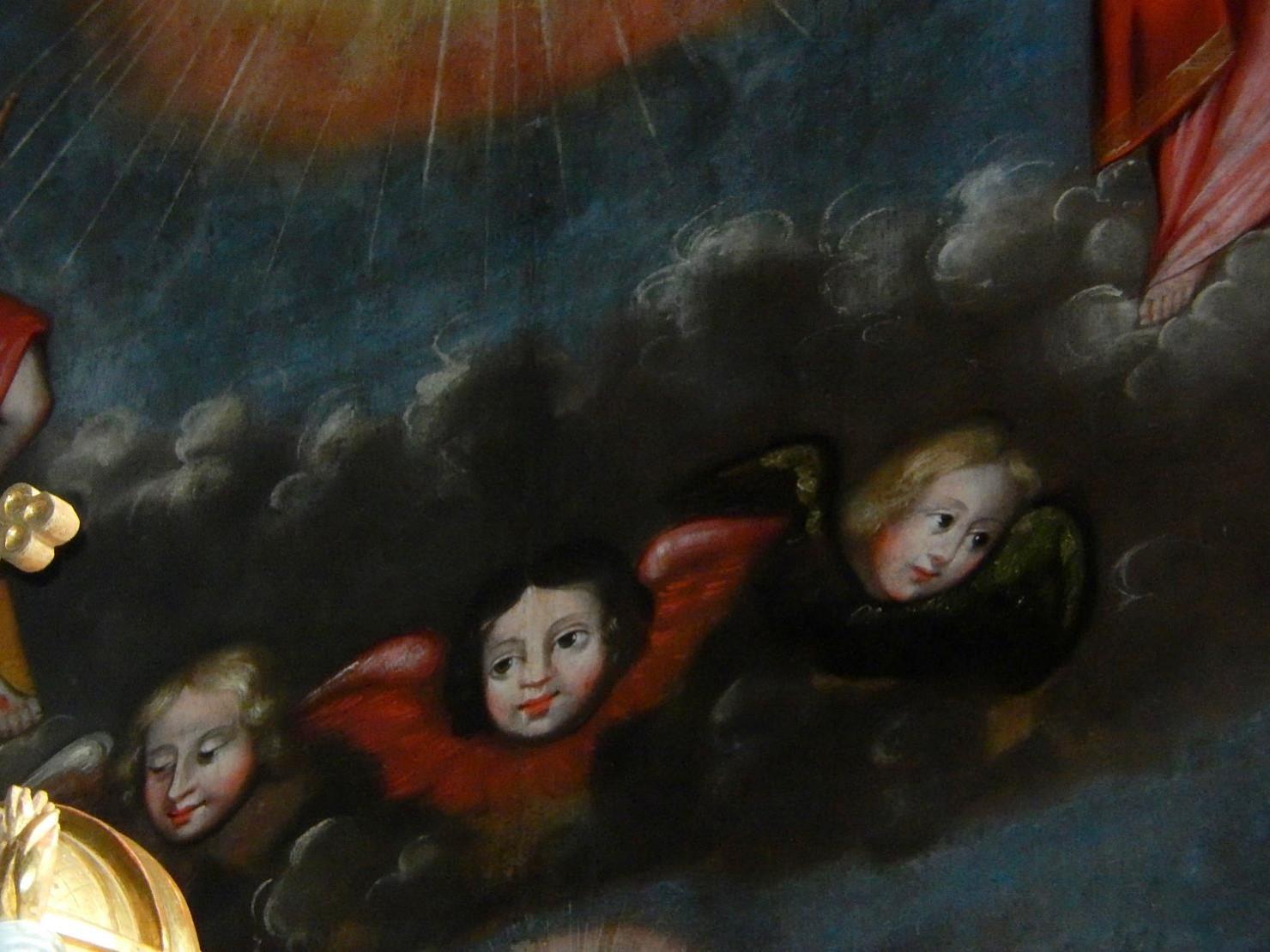 Toile du retable de l'église St-Pierre-St-Paul, Passy : angelots (cliché Bernard Théry, mars 2016)