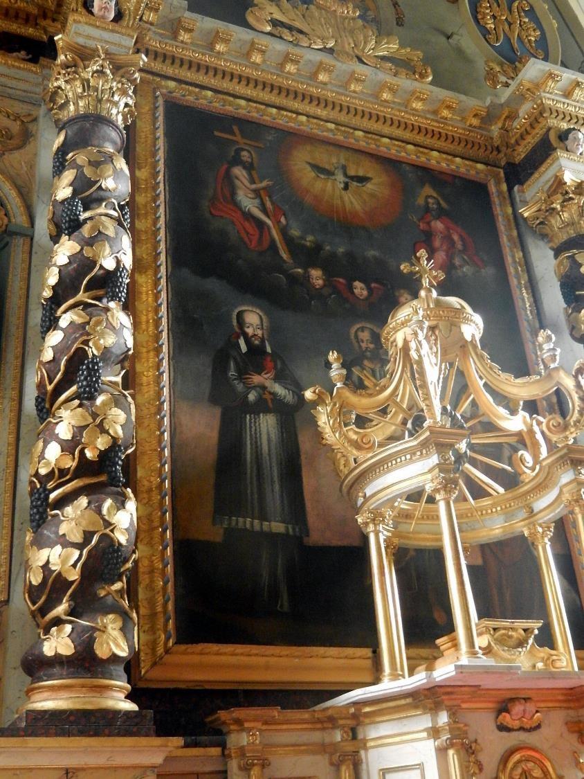 Retable de l'église St-Pierre-St-Paul, Passy : panneau central et couronnement (cliché Bernard Théry, mars 2016)