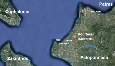 Emplacement du terrain de Kourtesis (Kourtessi) utilisé par l'escadrille 488. Photo Google Maps - Montage Albin Denis.