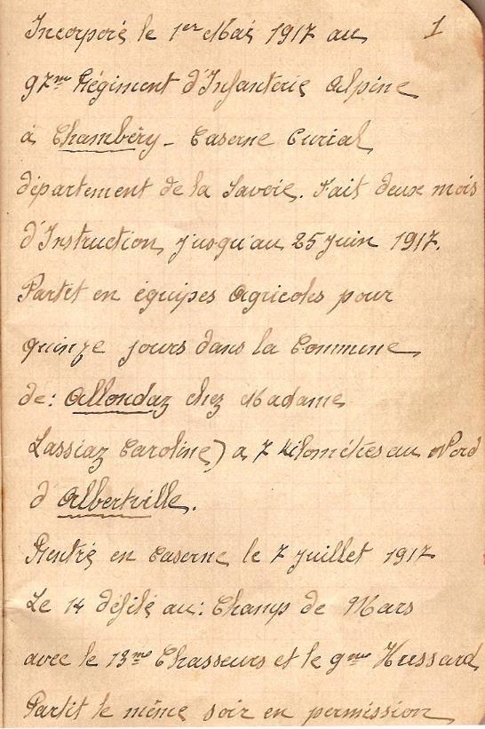 Carnet de route du soldat Perroud Joseph, 15e RI, page 1