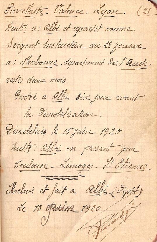 Carnet de route de Joseph PERROUD au 15e RI, page 21
