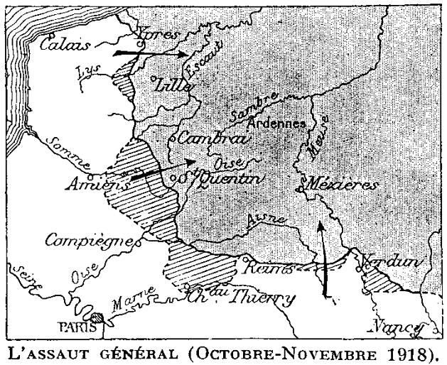 Carte de l'assaut général, octobre-novembre 1918
