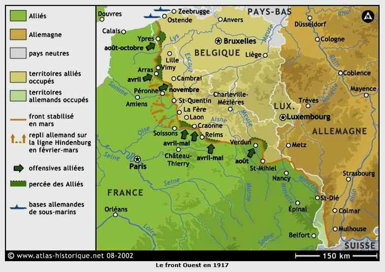 Carte du front ouest en 1917 (site 87dit.canalblog.com)