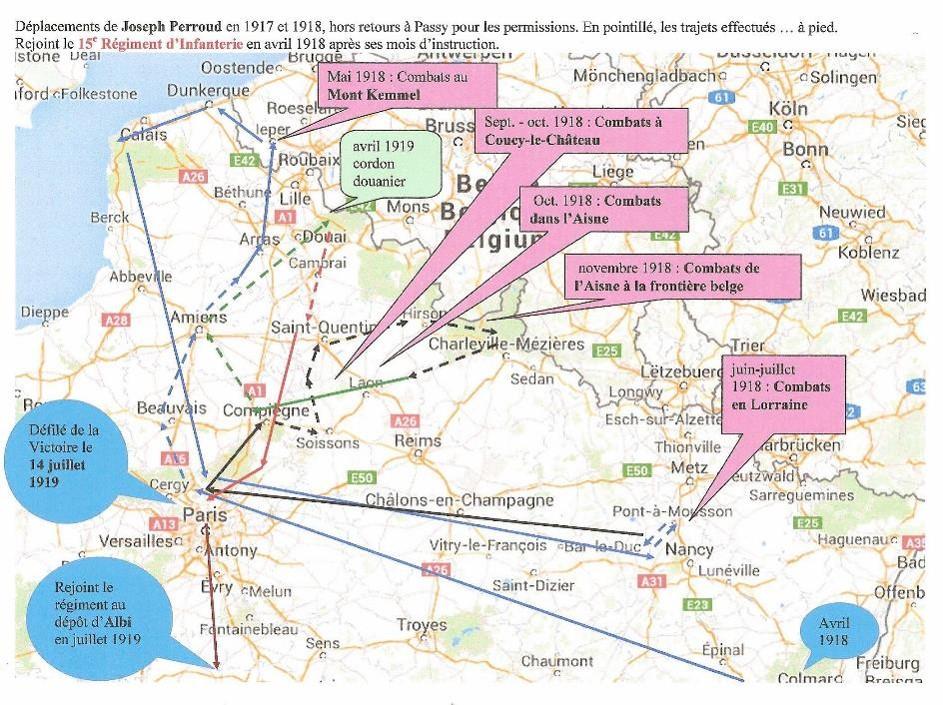 Carte des déplacements de Joseph Perroud et du 15e RI en 1917 et 1918