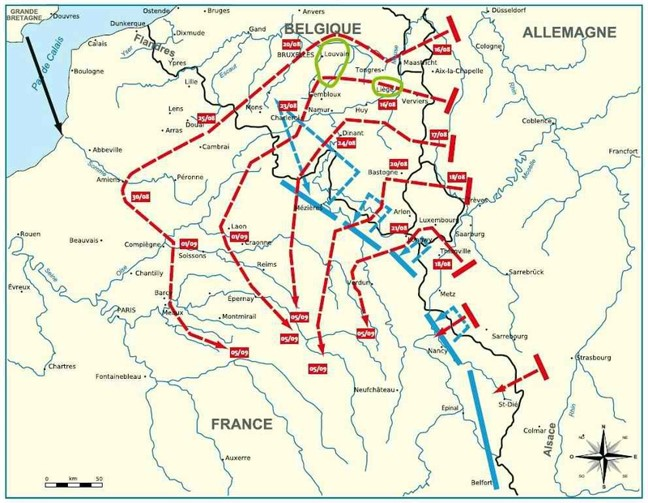 Carte des offensives de 1914 (Source Internet)