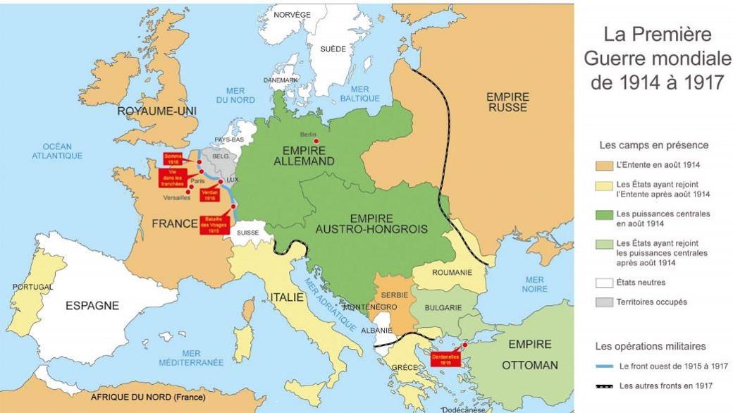 La Première Guerre mondiale de 1914 à 1917 (Source Internet)