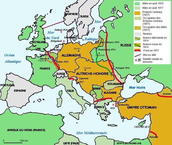 Les combats en Europe et au Proche-Orient de 1914 à 1918 (site reseau-canope.fr)