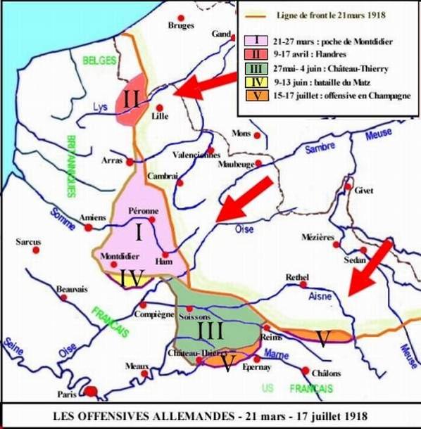 Les offensives allemandes de 1918 (Site memoires-pour-demain)