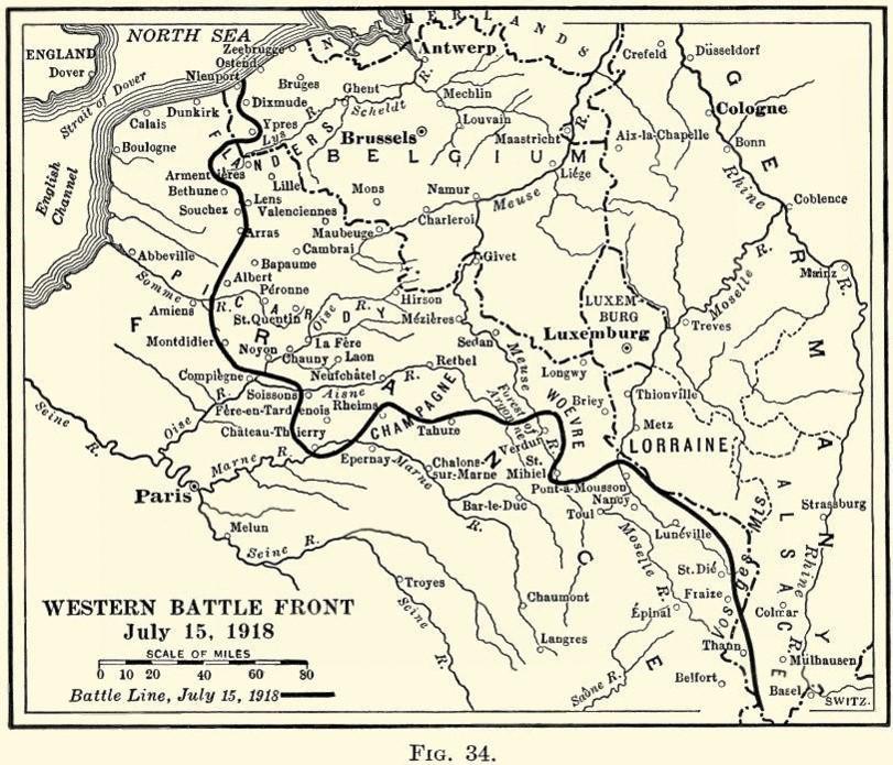 Le front ouest le 15 juillet 1918 (Wikipedia, art. Troisième bataille de l'Aisne)