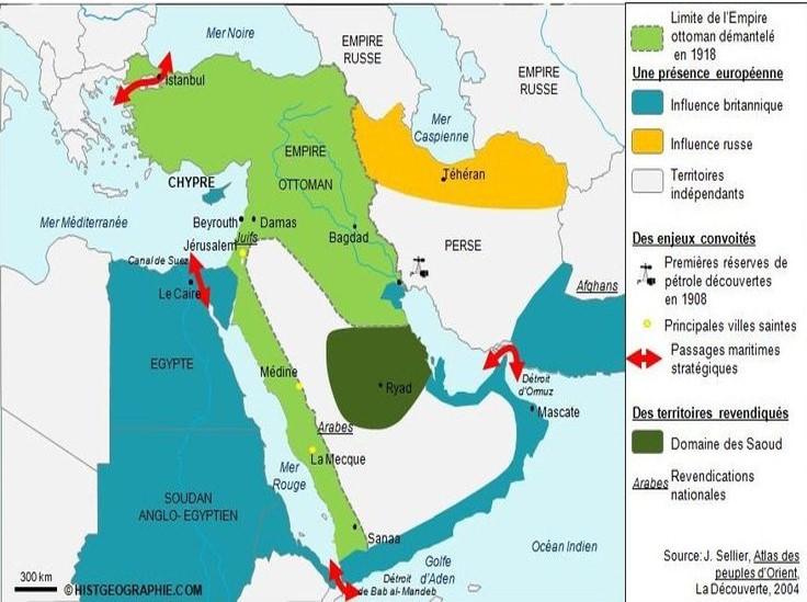 Proche et Moyen-Orient en 1918 (source J. Sellier, Atlas des peuples d'Orient, La Découverte, 2004)