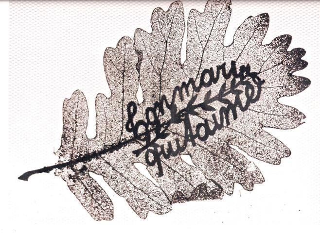 """Feuille de chêne « sculptée » par le Haut-Savoyard Alfred Laperrière à Salonique pendant la Grande guerre : """"Ton mari qui t'aime"""" (Doc. Jeannette Lassauce, Passy, les Soudans)"""