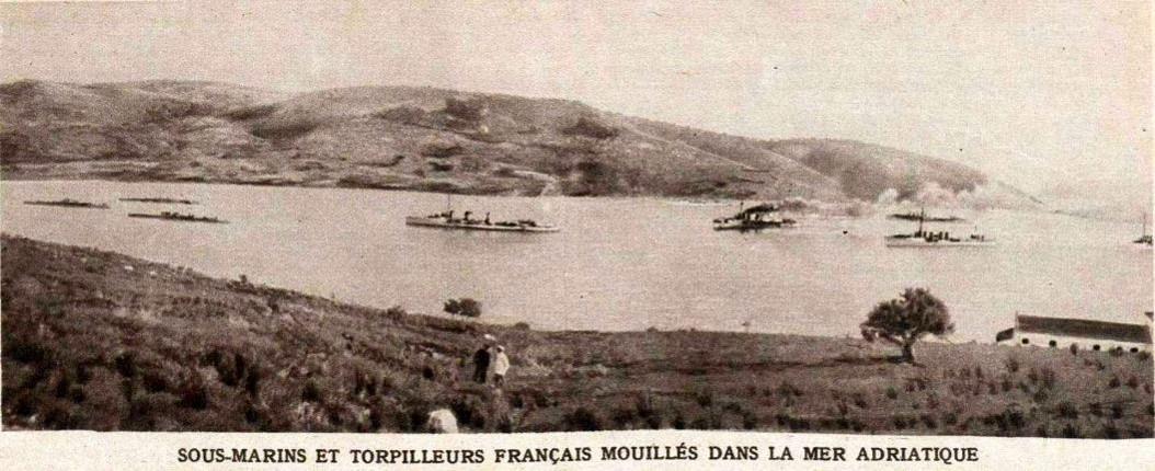 Sous-marins et torpilleurs français participant au blocus de l'Adriatique au début de 1915 (site Wikipedia, art. Barrage d'Otrante)