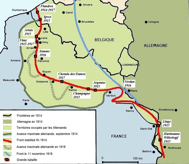 Evolution du front ouest de 1914 à 1918 (site reseau-canope.fr)