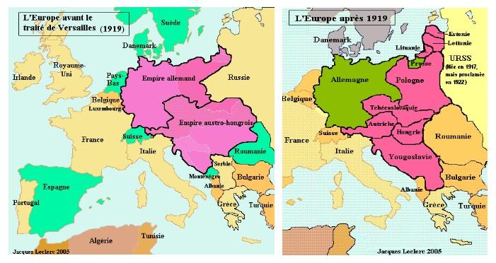 L'Europe avant et après le traité de Versailles de 1919 (Jacques Leclerc, 2005)