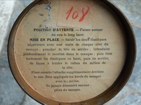 Instructions pour le masque ARS 1917 (Coll. Françoise Demange-Royer, Passy)