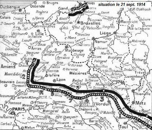 Carte du front le 21 septembre 1914 parue dans l'Illustration en janvier 1915
