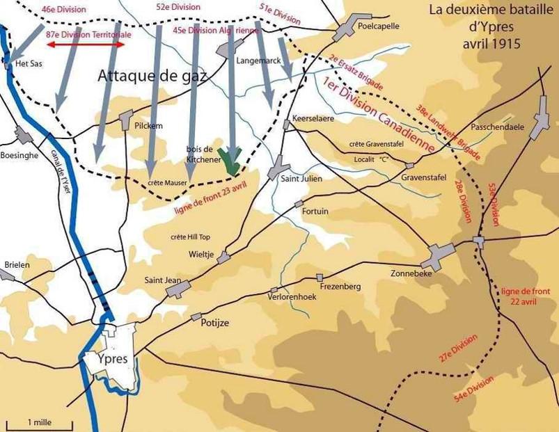 Carte de l'attaque d'Ypres en avril 1915 (site 87dit.canalblog.com)