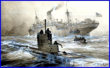 """Willy Stöwer, 1864-1931, Germany Le sous-marin U.21 coule le cargo """"Linda Blanche"""" dans la baie de Liverpool, 30 janvier 1915. (site peinturesetpoesies.blog50)"""