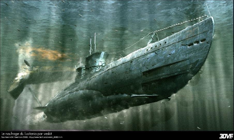 Le naufrage du Lusitania par Veskit (site 3dvf.com)