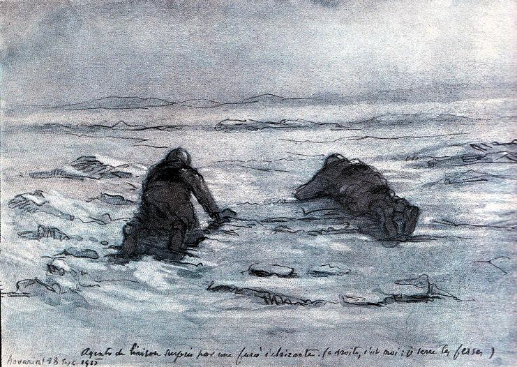 Surpris par une fusée éclairante (à droite, c'est moi : je serre les fesses) - Navarin, Champagne, septembre 1915 (Site dessins1418.fr)