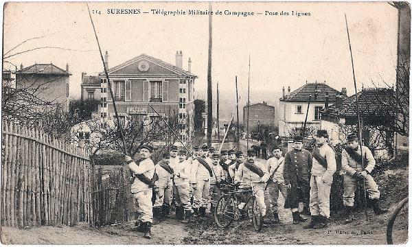 Pose des lignes de télégraphie militaire de campagne (site voyageurs-du-temps.fr, page 1119)