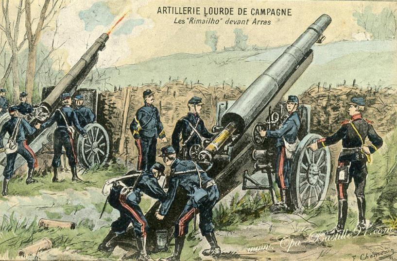 Artillerie lourde de campagne : le 155 CTR Rimailho. Les « Rimailho » devant Arras (site cartes postales anciennes)