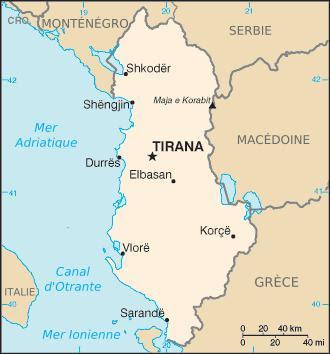 Situation de Koritza (ou Korca, ou Korçë), au S.O. du lac Prespa (site jacqueslacourbf)
