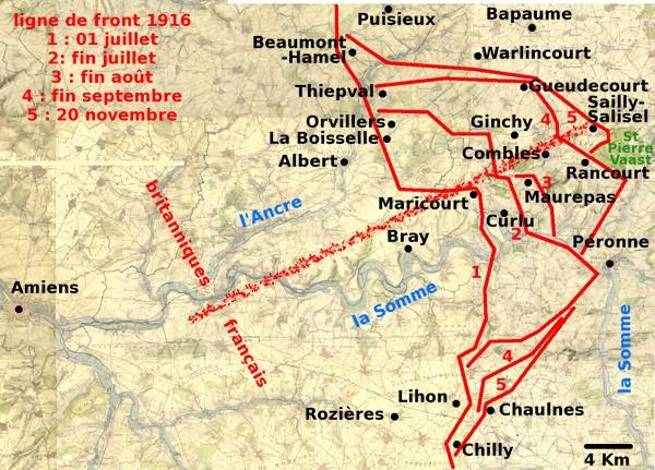 Evolution de la ligne de front du 1er juillet au 20 novembre 1916 (site Aujourd'hui l'éphéméride d'Archimède)
