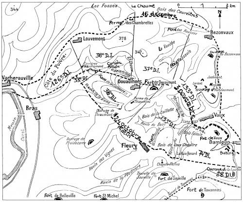 Carte de l'attaque du 24 octobre 1916 (Site bezonvaux.eklablog.com