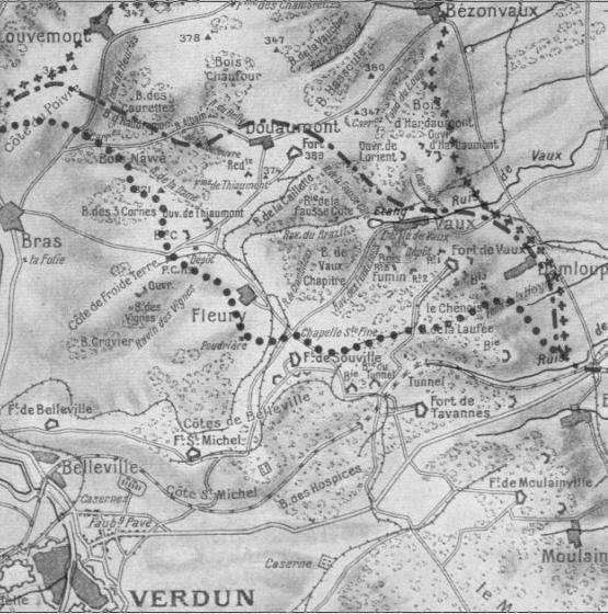 Carte du secteur de Verdun ; en haut à gauche la côte du Poivre (site chtimiste)