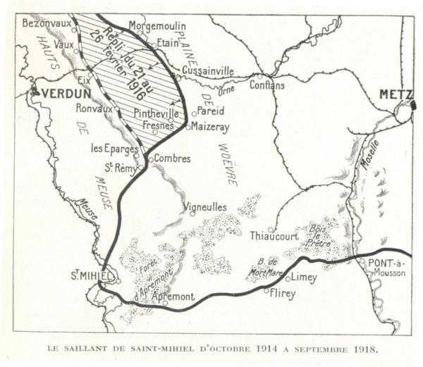 Pour situer (entre la Meuse et la Moselle) Verdun, les Eparges, la plaine de Woëvre, St-Mihiel et Bois-le-Prêtre (site riboulet.info)