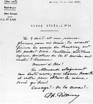 Fac similé de l'ordre du jour du 9 avril 1916 « On les aura ! » (site lesalonbeige et site le populaire)