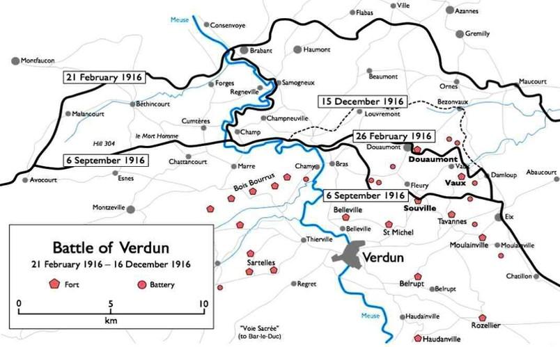 Carte de la bataille de Verdun, 21 février-16 décembre 1916 (Wikipedia, art. Bataille de Verdun)