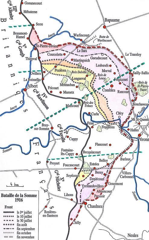 Carte de la bataille de la Somme en 1916 (site france24.com)