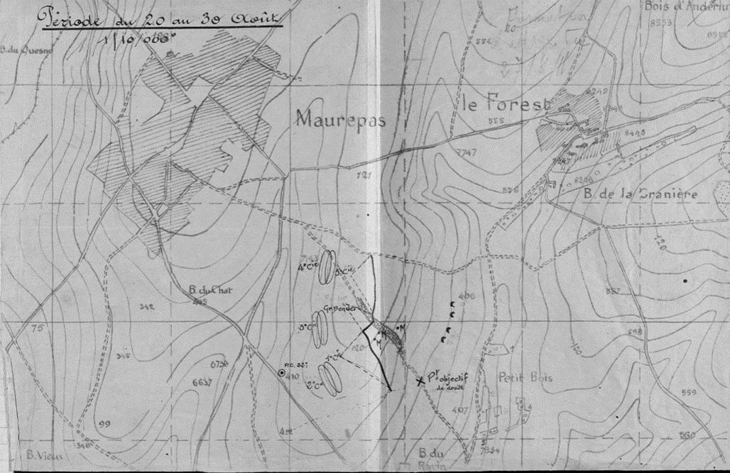 Carte de Maurepas, tirée du JMO du 22e BCAP