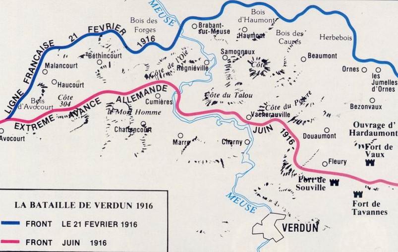 Evolution du front de Verdun de février à juin 1916 : avance extrême des Allemands (Source Internet)