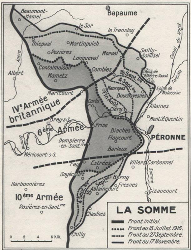 Carte de la bataille de la Somme de juillet à novembre 1916 (site 14-18.crdp-limousin.fr)