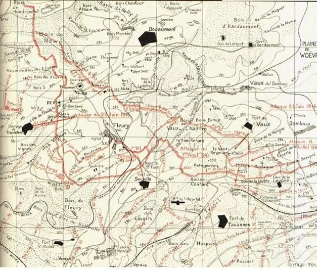 Juin 1916, Carte du secteur de Vaux (à droite) et de Douaumont (en haut), Fleury et Souville ; Damloup au milieu à droite