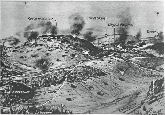 CARTE en relief des secteurs situés autour de Verdun, Douaumont, Souville (vue du nord) (site estrepublicain)