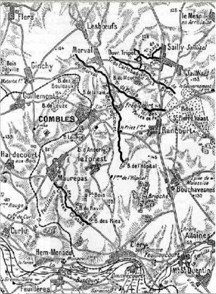 Les combats pour COMBLES et SAILLY-SAILLISEL, en haut à droite de la carte, en septembre-octobre 1916 (Site chtimiste)