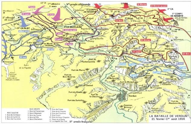 Carte de la bataille de Verdun au 1er août 1916 (site Larousse.fr)
