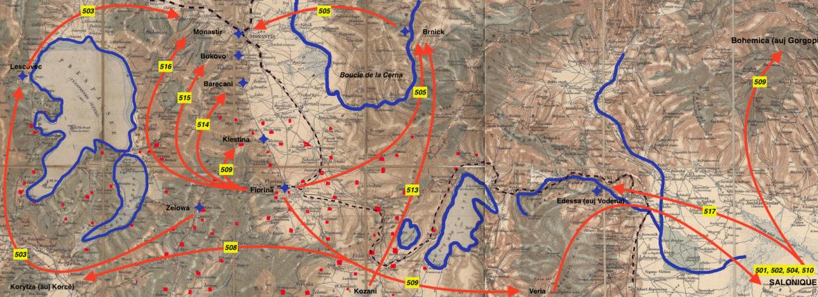 Carte de Salonique (en bas à droite) à Koritza (en bas à gauche) : boucle de la Cerna (site semeuse25cbleu.net)