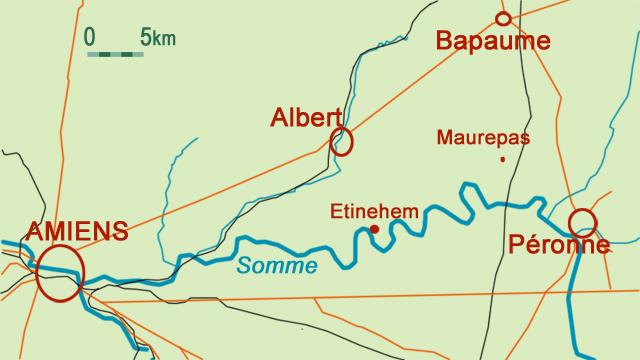 Albert, Bapaume et Péronne dans le bassin de la Somme ; au centre Maurepas (site Wikipedia, art. bataille de la Somme et site icem-pedagogie-freinet.org)